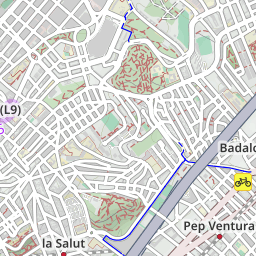 Map of bike lanes in Badalona